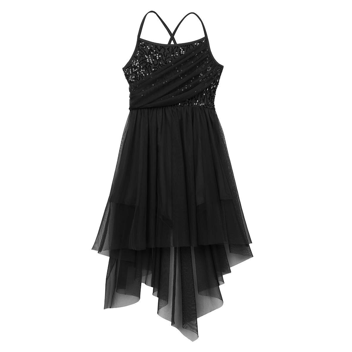 YOOJIA Vestido de Danza Latina Se/ñora Chica Traje Bailarina Lentejuelas Tango Capa Irregular Rendimiento Dancewear