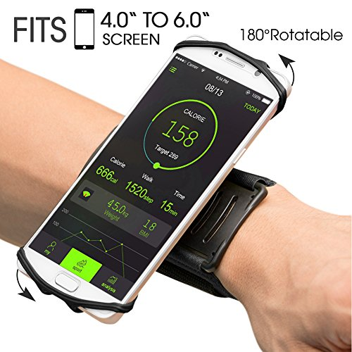 VUP Wristband Phone Holder for iPhone X iPhone 8 8Plus 7 7 Plus 6S 6 5S Samsung Galaxy S8 Plus S7 Edge, Google Pixel, 180° Rotatable, Great for Hiking Biking Walking Running Armband(Black) by VUP