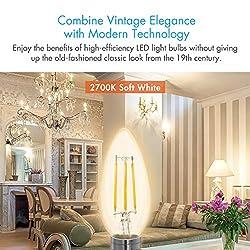 Tenergy LED Candelabra Bulbs Dimmable, 4W (40 Watt