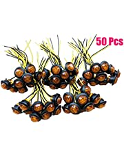 Pack of 50 3/4 Inch Mini Small Round Amber LED Side Marker Indicator Turn Signal Light Clearance Lamp Truck Trailer Bus Marine RV Automobiles Flatbed Waterproof 12V DC with rubber grommets