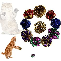 gainvictorlf Pet Supplies 12Pcs Funny Bright Color Paper Ball Cats Kitten Toy Playing Pet Interactive Set - Random Color