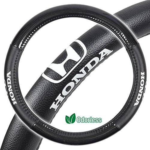 """Honda Steering Wheel Cover Carbon Fiber & Synthetic Leather Grip - Small 13.5""""-14.5"""" in Black"""