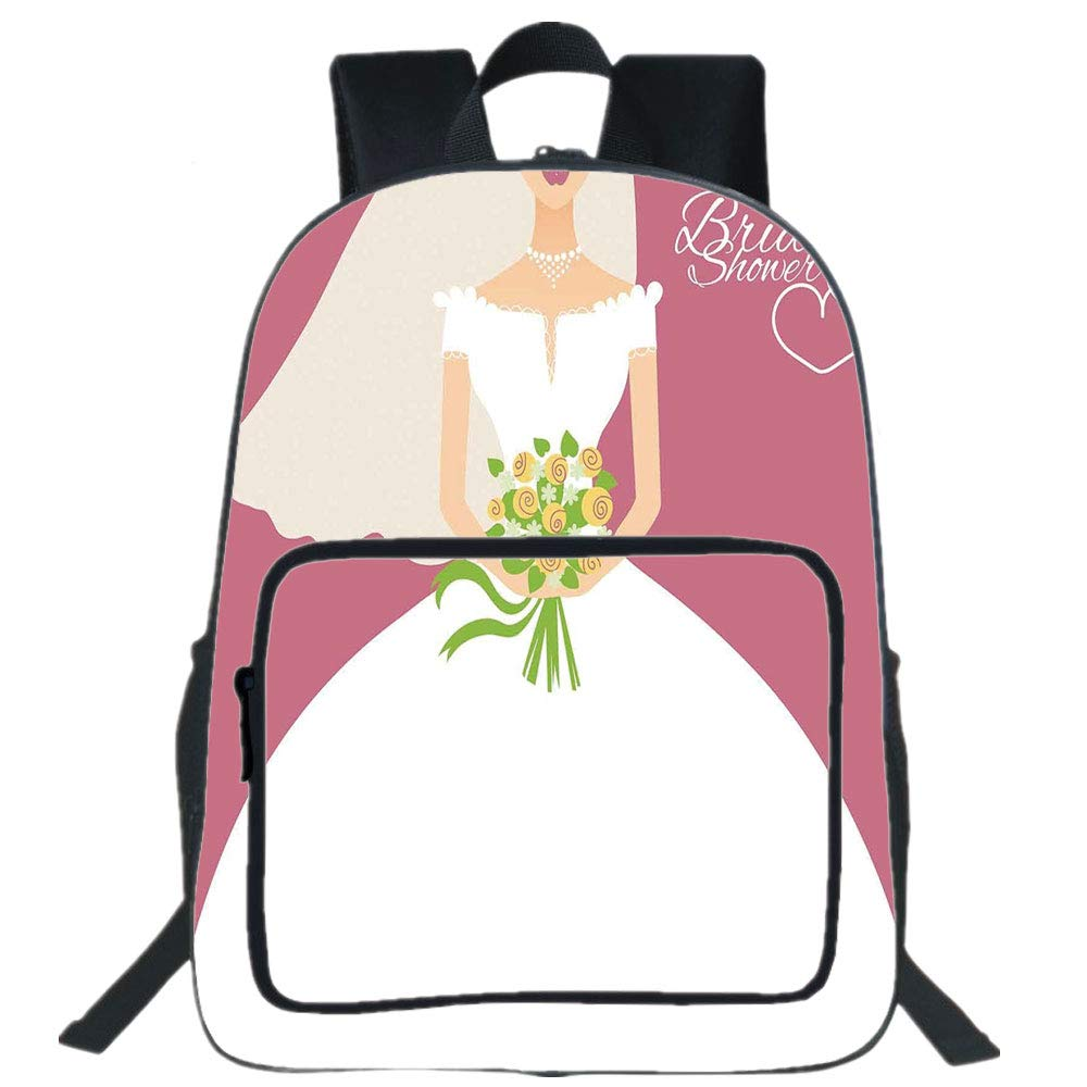 iPrint 19'' Large Casual Backpack,Bridal Shower Decorations,Wedding Day Bride with White Dress and Flowers Image,Dark Coral and White,for boys girls