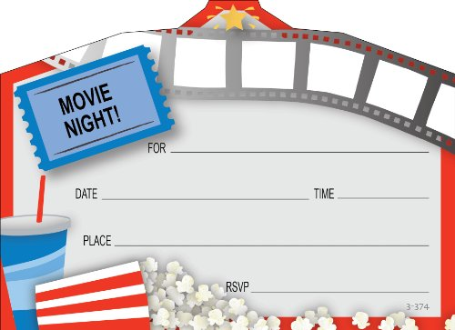 Movie Night Invitations - Kids Movie Night Invitations, Fill-In Style, 8 Pack