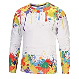 kaifongfu Men Sweatshirt Top,Long Sleeve Pullover top with Color 6D Print Blouse(Multicolor,S)
