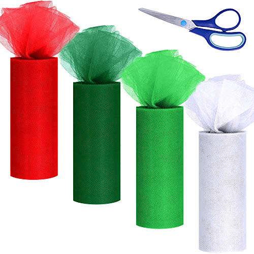 "Winlyn 4 Colors Christmas Tulle Rolls White Green Red Tulle Fabric Ribbon Tulle Netting Rolls Spool - 6"" by 25 Yards/Spool and Scissor for Holiday Season Wreath Hair Bows Party Table Skirt Dress"