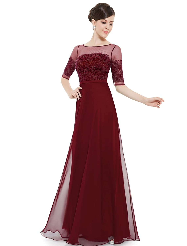 Amazon.com: Ever Pretty Women's Long Sleeve Illusion Neckline ...