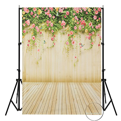 MOHOO Background 100% Polyester 5x7FT Flower Wall Butterfly Studio Backdrop Photography for Photo Studio Props (Garden Backdrop)