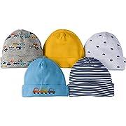 Gerber Baby Boys 5 Pack Cap, Cars, 0-6 Months