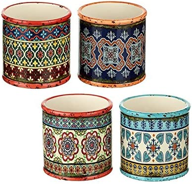 Heaven Sends Bohemian Patterned Round Ceramic Planters Colourful Set Of 4 Plant Pots Amazon Co Uk Kitchen Home
