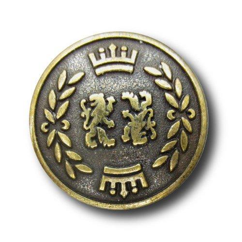Button Paradise Sewing Buttons - Set of 5 Noble Metal Buttons, Crowned Lions & Laurel Wreath - Colour: Antique Brass