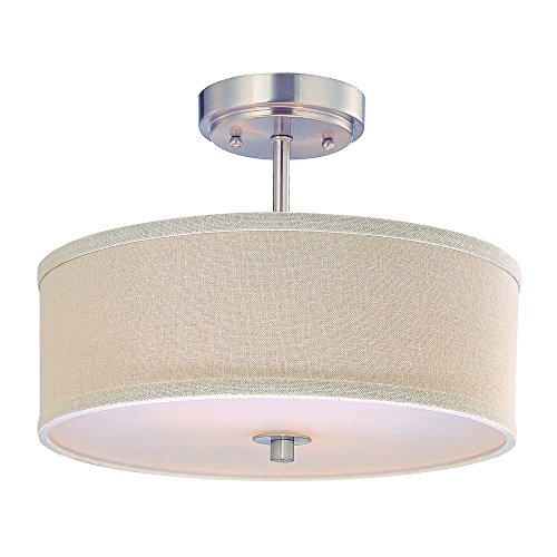 - Drum Shade Ceiling Light in Satin Nickel Finish - 14-Inches Wide