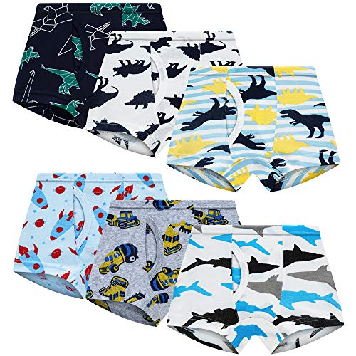 Toddler Boxer Briefs Little Boys Underwear 100% Cotton Truck Dinosaur Comfort 6 Pack(Truck)(5)