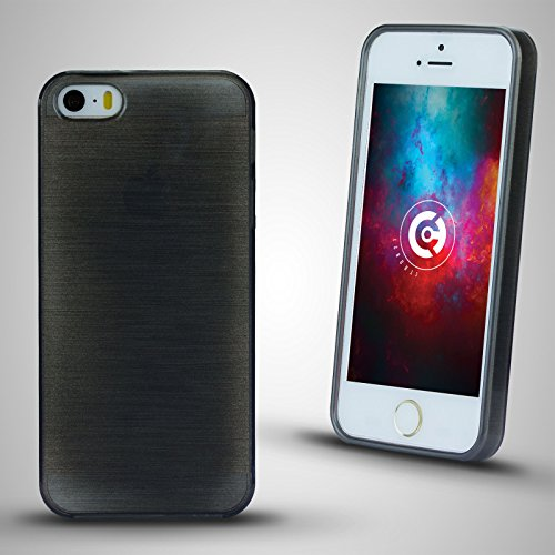 cTRON21 Handyhülle Apple iPhone SE / 5S / 5 Brushed Silikon Hülle Case Schale Cover Schwarz