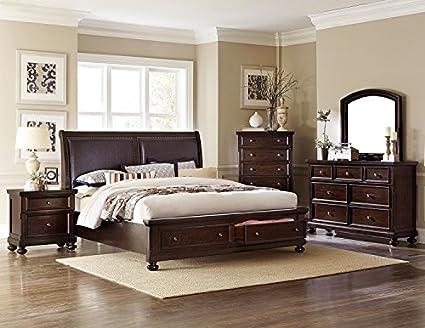 Amazon.com: Fowler Queen 4 Piece Bedroom Set in Dark Cherry ...