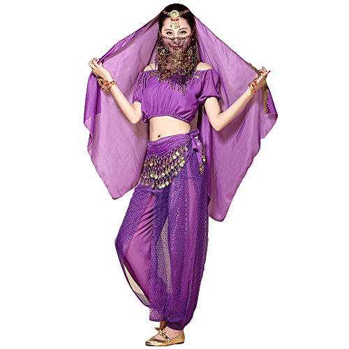 ALFEEL Belly Dancer Costume Outfit - Colors Sexy Arabic Professional Tribal Belly Dance Dress Clothes Set For Women - Veil + Headchain + Top + Scarf + Pants - 5 Pcs - What Esmeralda Is
