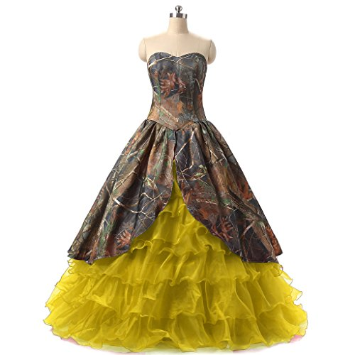 Sweetheart ANGELA Camo Yellow Prom Long Quinceanera Ruffles Women's Cheap Dresses 5ArSqAO
