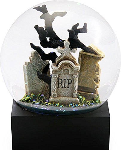 Ebros Day Of The Dead Edgar Allan Poe Raven Perching On Cemetery Tombstone Glitter Water Globe Collectible Figurine 4.25
