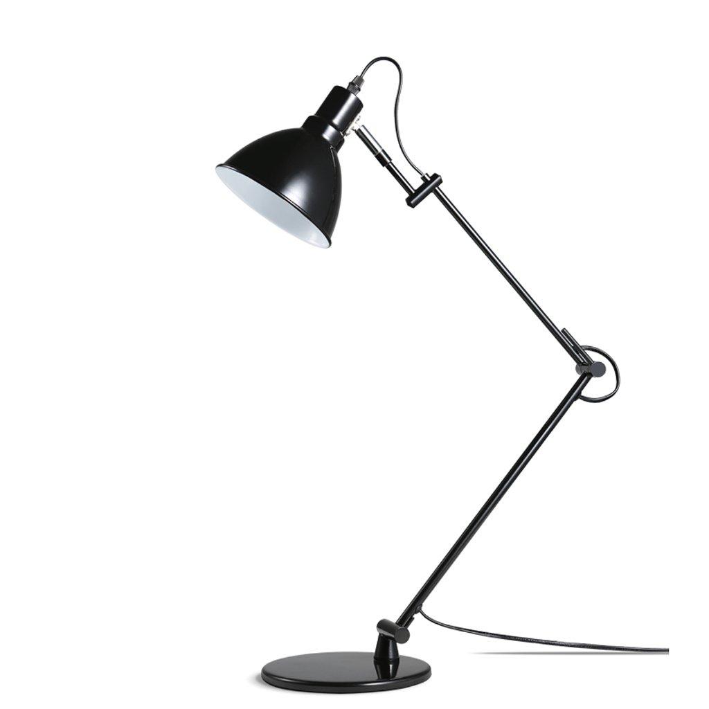 Freya Lámpara minimalista moderna de hierro forjado negro stent brazo largo plegable lámpara de escritorio oficina de aprendizaje de metal Oficina de estudio dormitorio comedor sala de estar lámparas