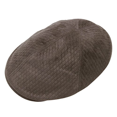 Morehats Quilted Faux Suede Flat Cap Cabbie Hat Gatsby Irish Hunting Newsboy Beret - Dark Grey