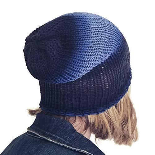 6478971cd30 Amazon.com  Lightweight Navy Blue Merino Wool Trendy Slouchy Beanie   Handmade