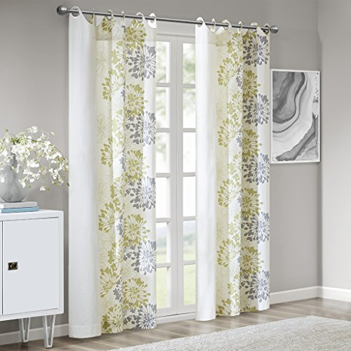 Contemporary Floral Fabric - White Curtains for Living Room, Modern Contemporary Green Curtains for Bedroom, Anaya Floral Fabric Grommet Window Curtains, 50X63, 1-Panel Pack
