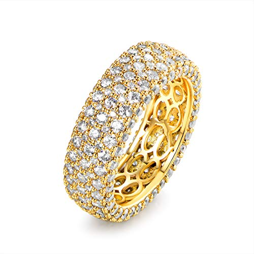 Barzel 18k White Gold or Rose Gold Plated Cubic Zirconia Eternity Band Ring Cocktail Jewelry (Gold Wide, 5)