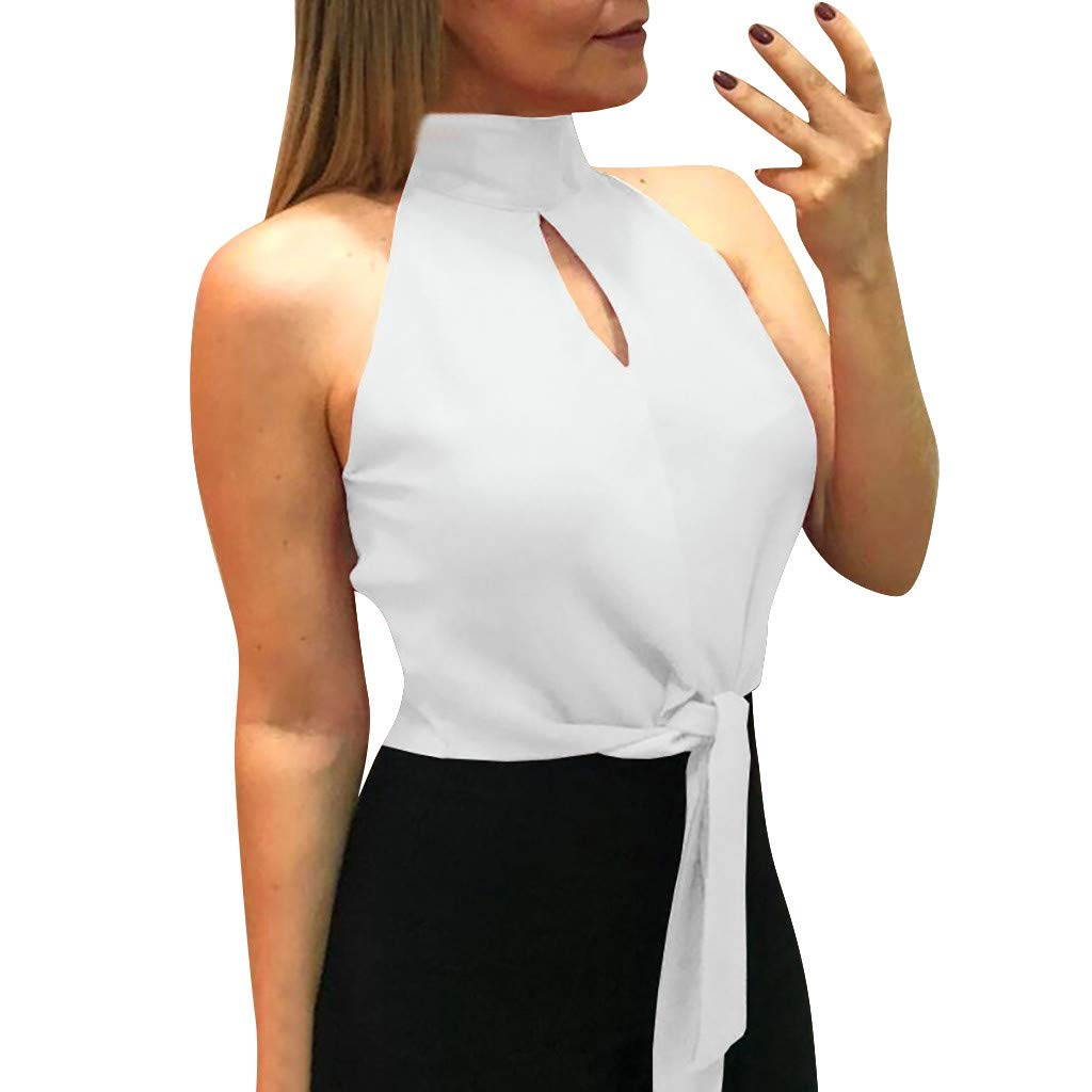 Women Tops Pure Color Hollow Out Tank Sleeveless Halter Blouse Vest White