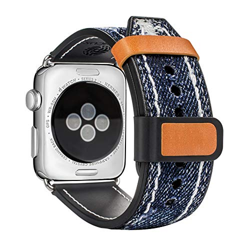 top4cus Compatible with Apple Watch 38mm 42mm Blue Jean Denim Fabric Strap for iWatch Series 1 Series 2 Sereis 3 for Men and Women (42mm, Navy Blue) ()