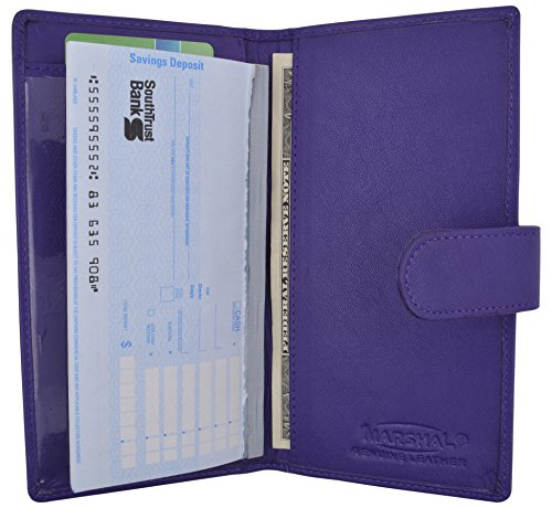 Brand New Hand Crafted Genuine Soft Leather Checkbook Cover simple-156 (Snap Purple)