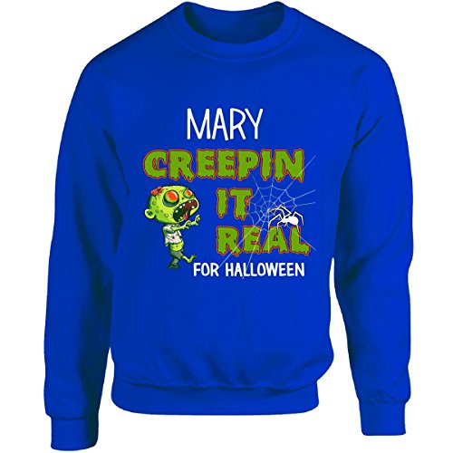Mother Mary Halloween Costume (Mary Creepin It Real Funny Halloween Costume Gift - Adult Sweatshirt Xl Royal)