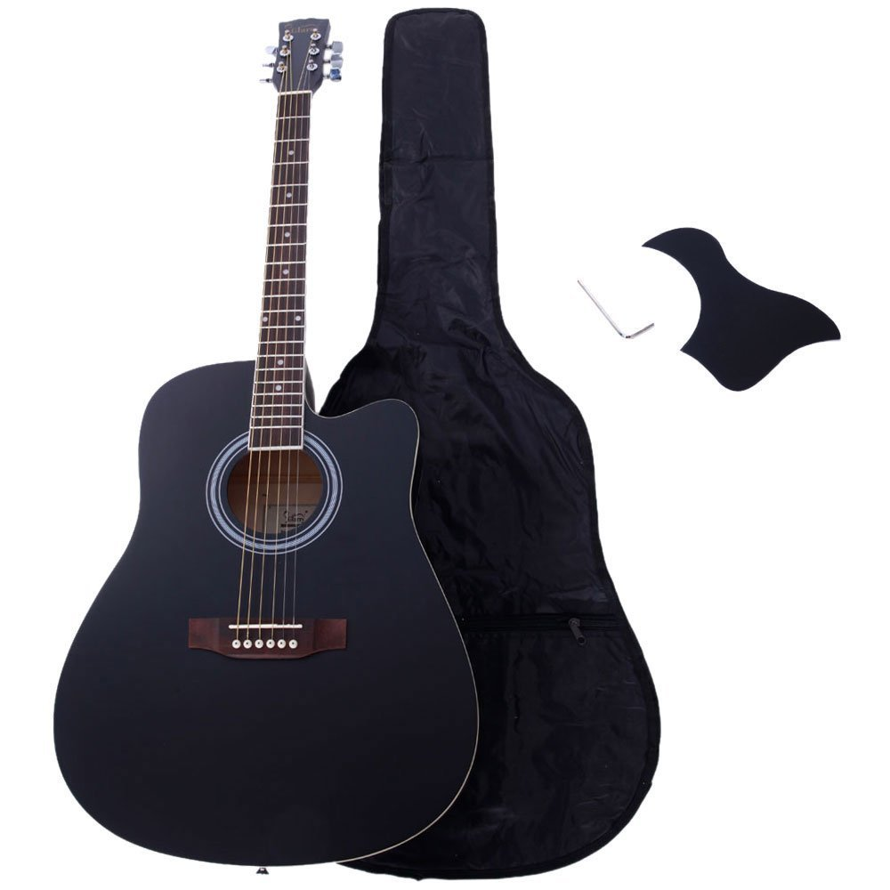 Glarry 41'' Spruce Front Rosewood Fingerboard Folk Guitar for Music lovers with Guitar Bag and Accessories include Board and Wrench (Black)