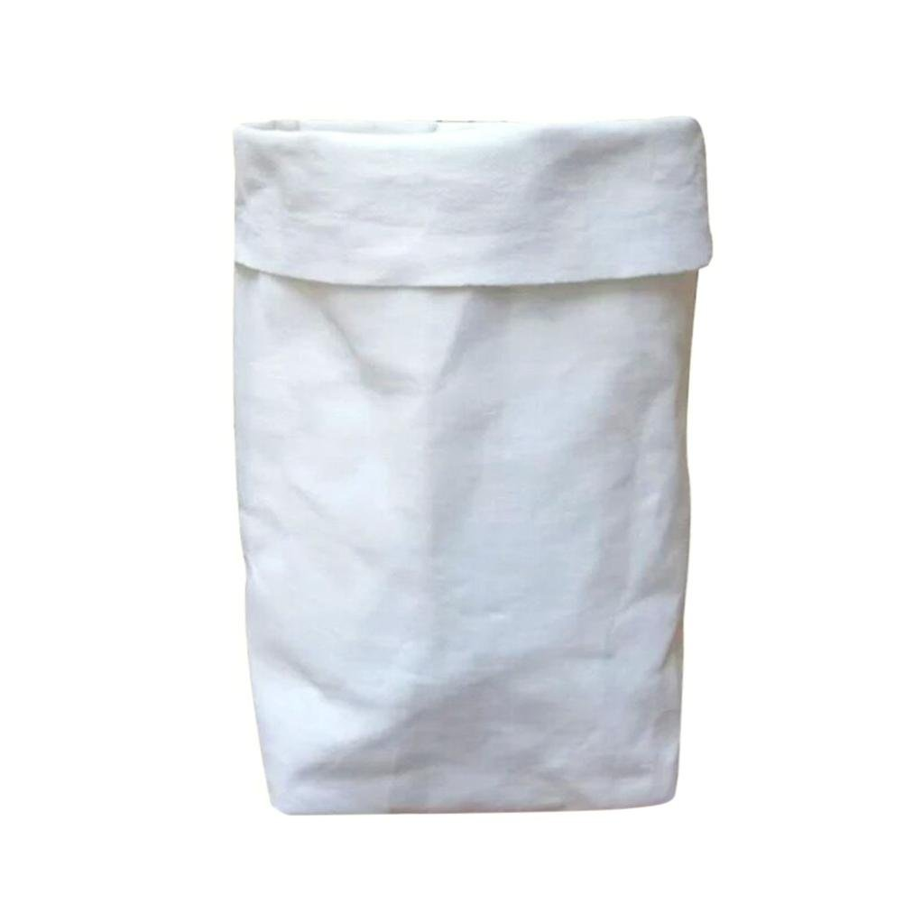 Clearance Deal! Hot Sale! Storage Bag, Fitfulvan Washable Kraft Paper Bag Plant Flowers Pots Multifunction Home Storage Bag (White)