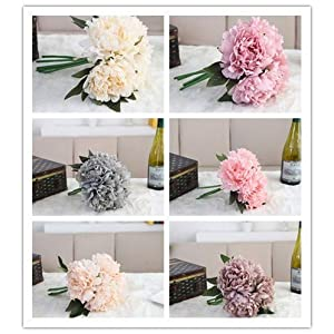 Hivot Wedding Bridal Bouquet,Artificial Silk Fake Flower Peony Floral Bridal Hydrangea Party Home Decor Craft Multicolor 37
