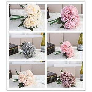 Hivot Wedding Bridal Bouquet,Artificial Silk Fake Flower Peony Floral Bridal Hydrangea Party Home Decor Craft Multicolor 69