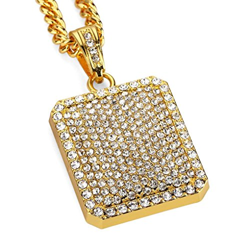 Mens Full Iced Out Rhinestone Square Tag Pendant Cuban Chain Hip Hop Necklace Gold by TOPUNDER (Square Pendant)