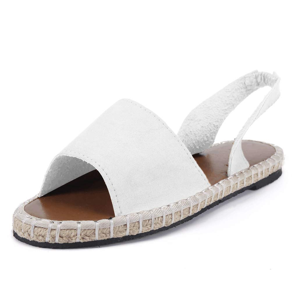 Women's Shoes for Women SYHKS Retro Women's Flat Ankle Strap Roman Slippers Sandals Ladies Beach Sandles for Women(White,35)
