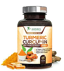 Turmeric Curcumin Max Potency 100% Extract - 95% Standardized Curcuminoids with Black Pepper and Ginger for Best Absorption, Anti-Inflammatory for Joint Relief, Turmeric Supplement - 120 Veg Capsules