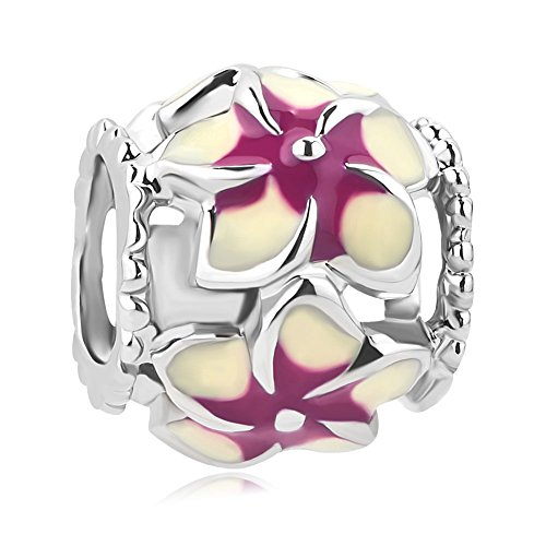 Q&Locket Love Beauty Orchid Flower Charms Filigree Enamel Charm Beads For Bracelet (Purple)