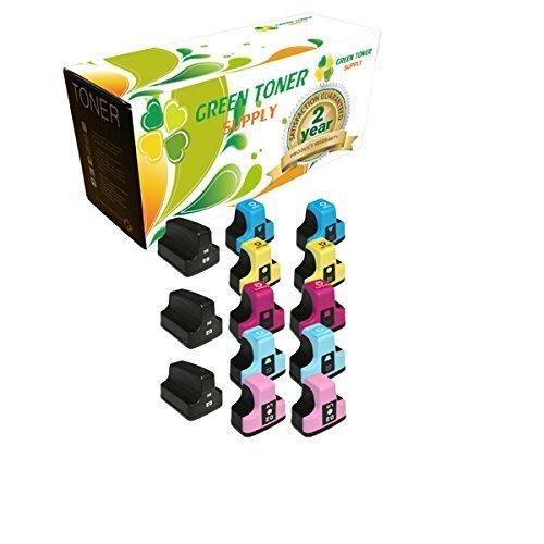 Cartridge Cyan Ink 02 Compatible (Green Toner Supply Brand New Compatible Ink Cartridge High Yield Replacement for HP 02 Photosmart printer (3 Black, 2 Cyan, 2 Yellow, 2 Magenta, 2 Light Cyan, 2 Light Magenta, 13-Pack))
