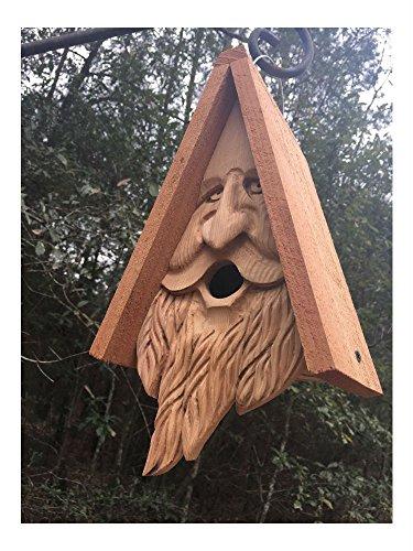 Wood Spirit rustic Old Man Face Hand Carved Cedar Bird House Birdhouse Happy ()