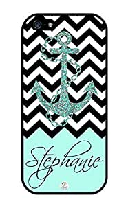 iZERCASE Personalized Black Turquoise and White Chevron Pattern with Anchor RUBBER iphone 5 / iPhone 5S case - Fits iphone 5, iPhone 5S T-Mobile, AT&T, Sprint, Verizon and International (Black)