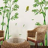 "SWORNA Nature Series SN-78 Elegant Green Bamboo Vinyl Removable DIY Wall Art Mural Sticker Decor Decal - Lady Bedroom Office Sitting Living Room Hallway Kitchen Glass Door Window Nursery 65""H X 116""W"
