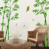 """great bamboo wall decals  Nature Series SN-78 Elegant Green Bamboo Vinyl Removable DIY Wall Art Mural Sticker Decor Decal - Lady Bedroom Office Sitting Living Room Hallway Kitchen Glass Door Window Nursery 65""""H X 116""""W"""