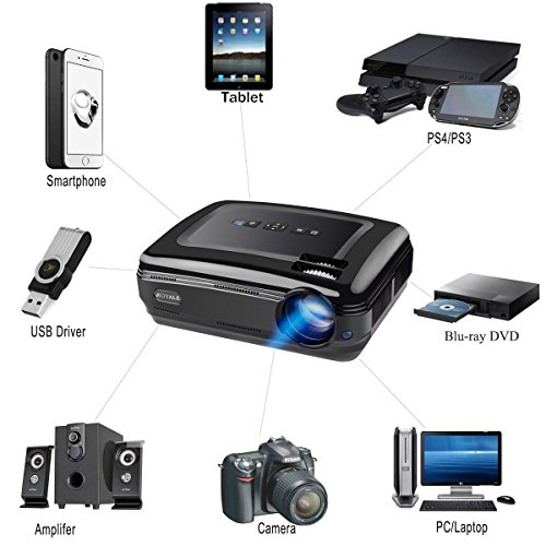 Video Projector 1080P -Capable with iPad iPhone Smartphone TV Box Android