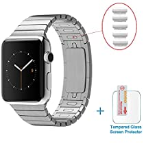 iWatch Band 38mm, Eoso Link Bracelet Stainless Steel apple wtach Band with Double Button Folding Clasp for iWatch All Models 38mm -(Removable Link Directly by Hand without Any Tools) Silver 38mm