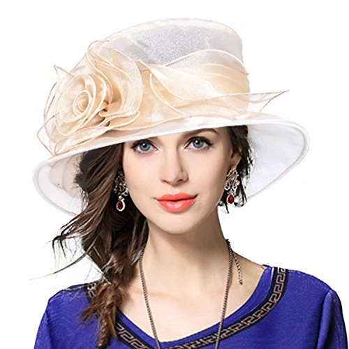 VECRY Lady Derby Dress Church Cloche Hat Bow Bucket Wedding Bowler Hats (Floral-Apricot, Medium)]()