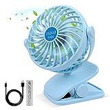 ESEOE Clip on Fan, USB Or 2600mAh Rechargeable Battery Operated Fan Small Desk Fan with 4 Speeds, 360 Degree Rotation Portable Stroller Fan for Baby Stroller, Table, Office, Camping, Dorm(Blue)