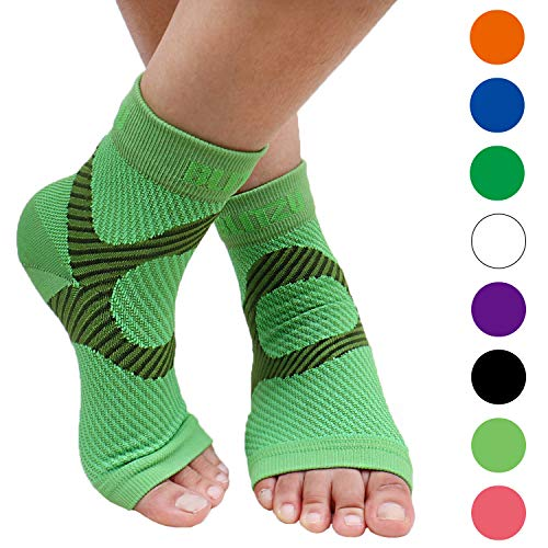 (BLITZU Plantar Fasciitis Socks with Arch Support, Foot Care Compression Sleeve, Eases Swelling & Heel Spurs, Ankle Brace Support, Relieve Pain Fast Green L-XL)