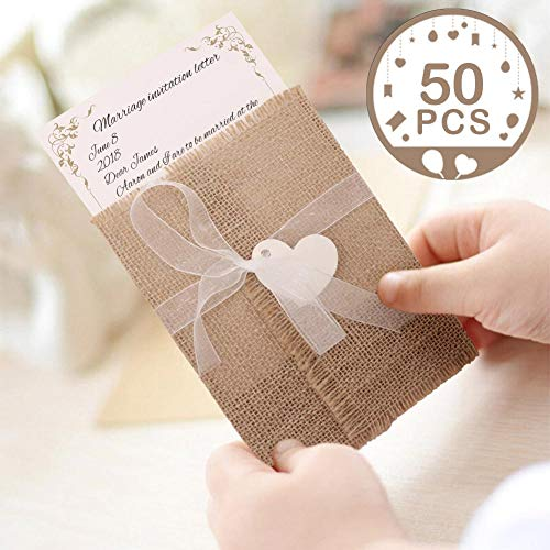 AerWo 50Pcs Burlap Rustic Wedding Invitations with Envelopes Kit, Vintage Fill in Wedding Invitations Cards for Wedding Bridal Shower Baby Shower Engagement Graduation Invite -